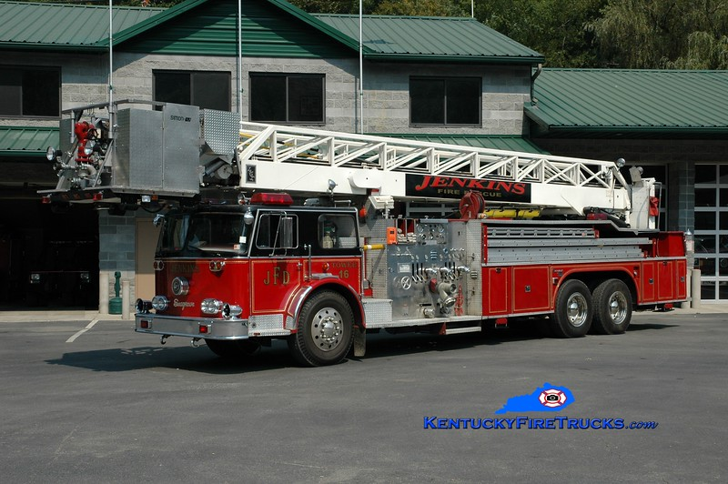 <center> RETIRED <br> Jenkins  Tower 16 <br> x-Westbury, NY <br> 1975 Seagrave SS/Clintonville/LTI 1500/200/85' <br> Greg Stapleton photo <br> </center>