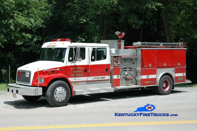 <center> Kings Creek  Engine 1013 <br> x-Norrisville, MD <br> 1996 Freightliner FL80/EEI 1250/1000 <br> Greg Stapleton photo </center>