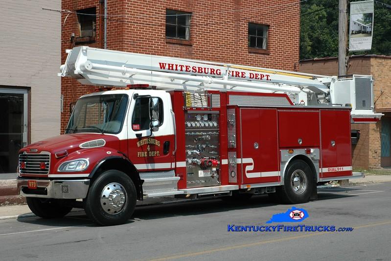 <center> Whitesburg  Truck 4 <br> 2004 Freightliner M2-106/American LaFrance 1500/500/55' Snorkel <br> *Snorkel from the 1973 Ford/Allegheny <br> Greg Stapleton photo </center>