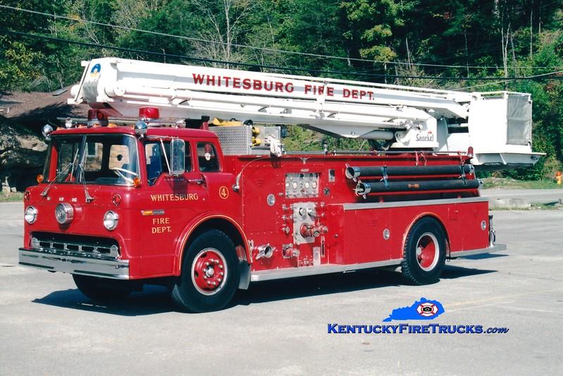 <center> RETIRED <br> Whitesburg  Truck 4 <br> 1973 Ford C-900/Allegheny 1000/500/55' Snorkel <br> Greg Stapleton photo </center>