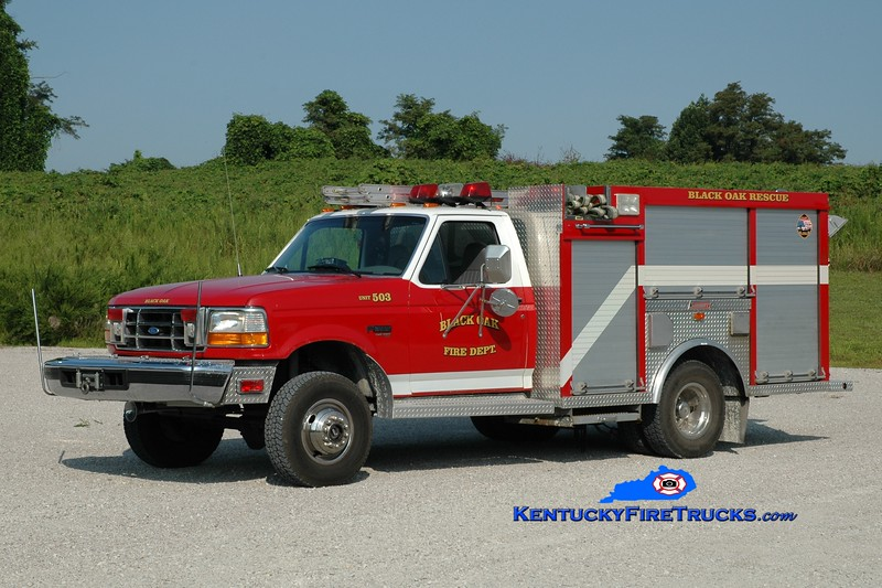 <center> Black Oak  Rescue 3 <br> x-Edgewood, KY (Kenton County) <br> 1998 Ford F-350 4x4/Summit 500/300/20 <br> Greg Stapleton photo </center>