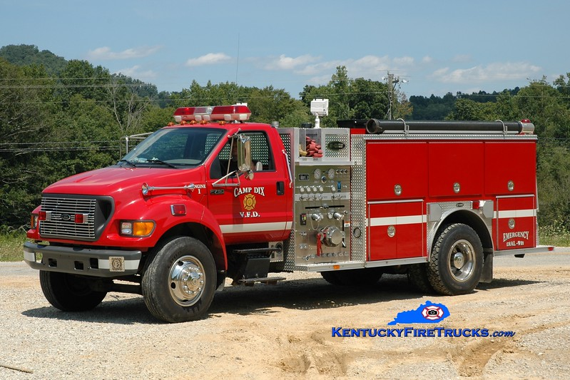 <center> Camp Dix  Engine 1 <br> 1999 Ford F-750/E-One 1250/1000 <br> Greg Stapleton photo </center>
