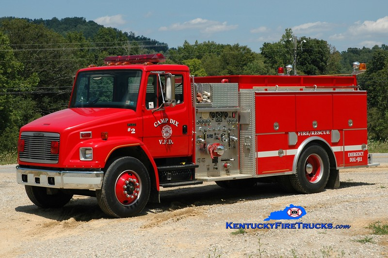 <center> Camp Dix  Engine 2 <br> 1992 Freightliner FL80/JC Moore 1000/1000 <br> Greg Stapleton photo </center>