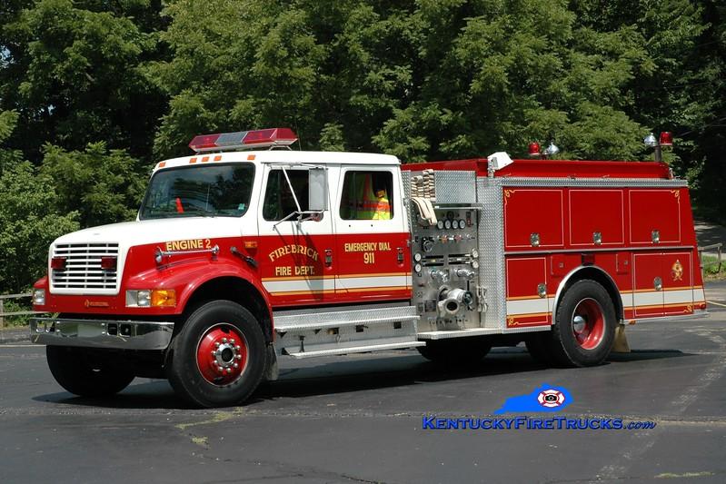 <center> RETIRED <br> Firebrick  Engine 2 <br> x-Flatwoods, KY <br> 1991 International 4900/KME 1250/1200 <br> Greg Stapleton photo </center>