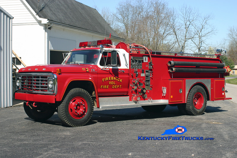 <center> RETIRED <br> Firebrick  Engine 2 <br> 1976 Ford F-750/Great Eastern-Oren 750/750 <br> Kent Parrish photo </center>
