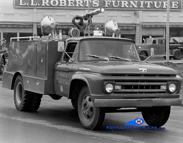<center> RETIRED <br> Lexington  Hose & Turret 1 <br> 1961 Ford F/LFD <br> Greg Stapleton collection </center>