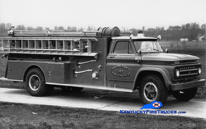 <center> RETIRED <br> Lexington, KY  Engine 13 <br> x-Fayette County FD, KY <br> 1965 Chevy/Boyer 750/1000 <br> Greg Stapleton collection </center>