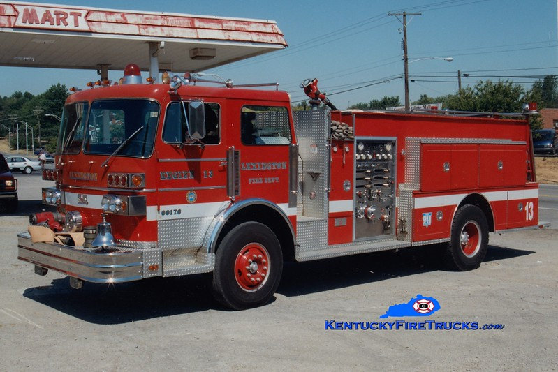 <center> RETIRED <br> Lexington, KY  Engine 13 <br> 1981 Sutphen Deluge 1250/750 <br> Greg Stapleton photo </center>