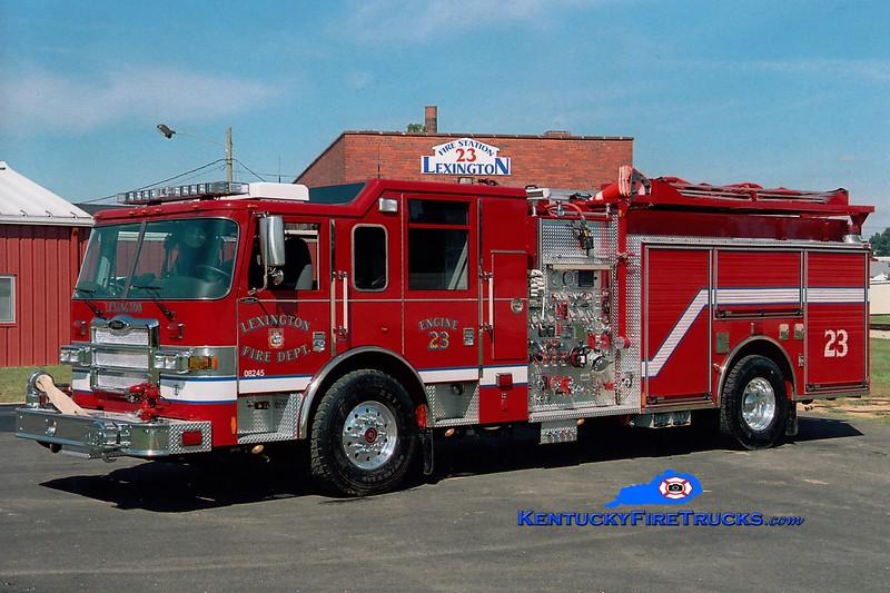<center> Lexington  Engine 23 <br> 2006 Pierce Dash 1500/1200/100  <br> Greg Stapleton photo </center>