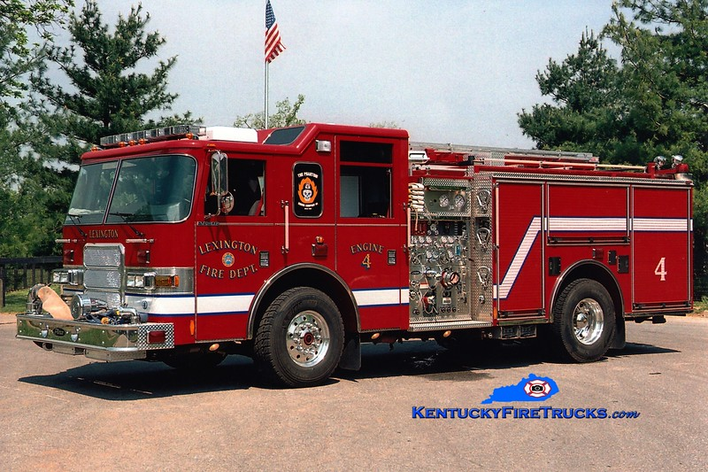 <center> Lexington  Engine 4 <br> 2004 Pierce Enforcer 1500/700/20/30 <br> Greg Stapleton photo </center>
