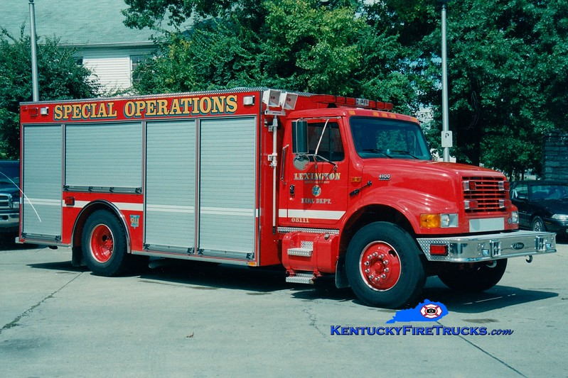 <center> *Reassigned as Support Unit <br> Lexington  Hazmat 2 <br> 2000 International 4900/Pierce <br> Greg Stapleton photo </center>