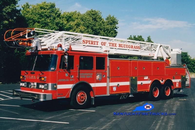 <center> *Reserve Ladder 18 <br> Lexington  Aerial 1 <br> 1987 Pierce Arrow 105' <br> Greg Stapleton photo </center>