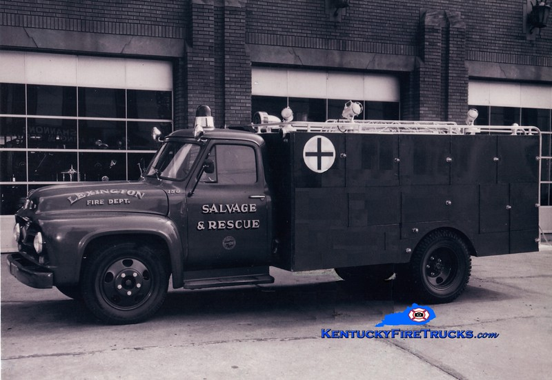 <center> RETIRED <br> Lexington  Rescue & Salvage Truck <br> 1955 Ford/LFD <br> Greg Stapleton photo </center>