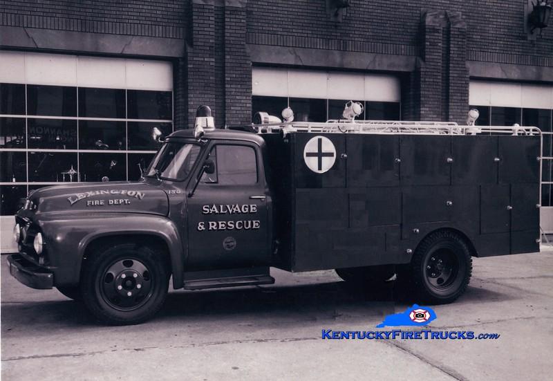 <center> RETIRED <br> Lexington  Rescue & Salvage Truck <br> 1955 Ford/LFD <br> Greg Stapleton photo </center>
