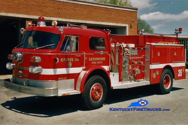 RETIRED<br /> Lexington Reserve Engine 35<br /> x-Engine 6<br /> 1983 American LaFrance 1500/500<br /> Greg Stapleton photo