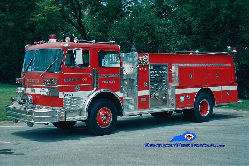 RETIRED<br /> Lexington Reserve Engine 31<br /> x-Engine 13 <br /> 1981 Sutphen 1250/750<br /> Greg Stapleton photo