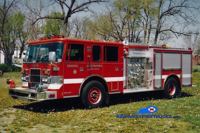 RETIRED<br /> Lexington Reserve Engine 34<br /> x-Engine 6 <br /> 1996 Pierce Saber 1500/500<br /> Greg Stapleton photo