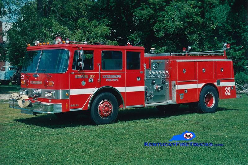 RETIRED<br /> Lexington Reserve Engine 32<br /> x-Engine 8<br /> 1989 Pierce Arrow/1979 American LaFrance 1250/1000<br /> Greg Stapleton photo