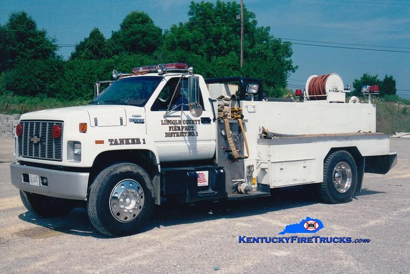 <center> RETIRED <br> Lincoln County Tanker 1  <br> x-Boyle County, KY <br> 1989 Chevy Kodiak/Local 500/1800 <br> Greg Stapleton photo <br> </center>