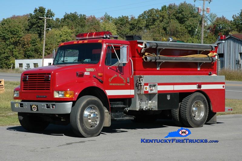 <center> RETIRED <br> Lincoln County Tanker 1  <br> 1994 International 4900/Wynn 250/1800 <br> Greg Stapleton photo <br> </center>