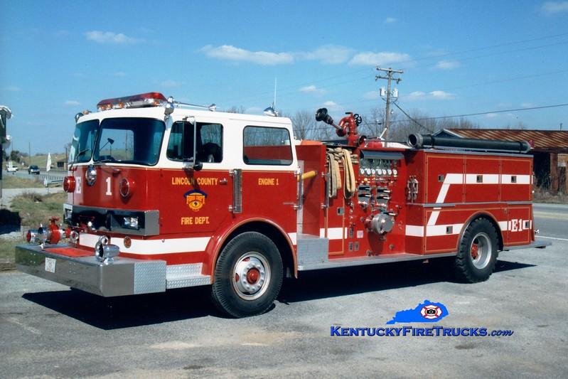 <center> RETIRED <br> Lincoln County Engine 1  <br> 1977 Hendrickson/Boyer 1250/750  <br> Greg Stapleton photo <br> </center>