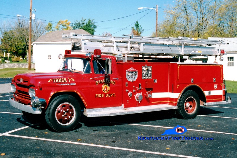 <center> RETIRED <br> Stanford  Truck 1 <br> 1958 Ford F/Central-St. Louis 500/0/Hose/Ladders <br> Greg Stapleton photo </center>