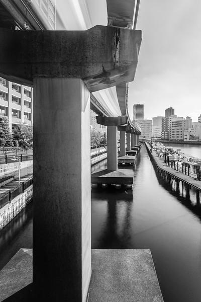 A train speeds over pylons sunk into Tokyo's waterways.