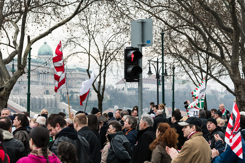 Demonstrators gather below the Buda castle on March 15, 2017 in support of Jobbik, Hungary's neo-Nazi party.
