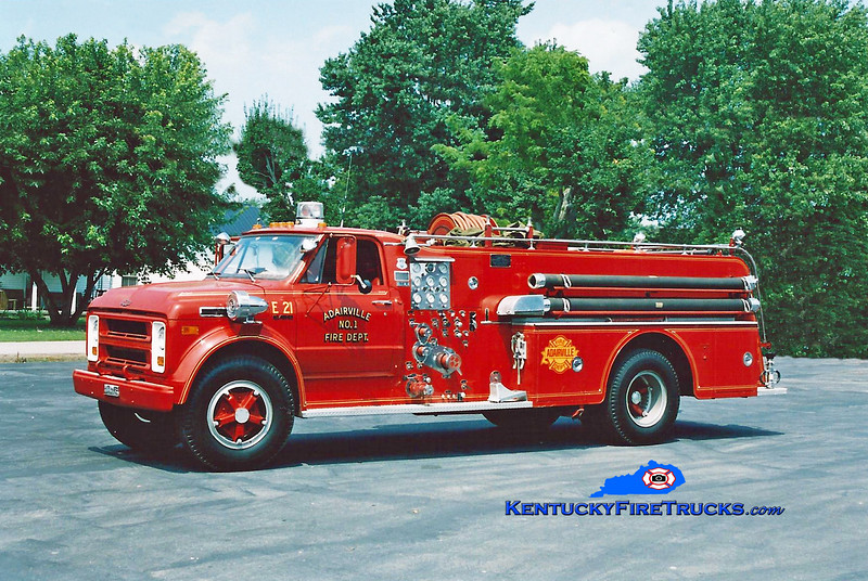 <center> Adairville   Engine 21 <br> 1969 Chevy/Howe 750/750 <br> Kent Parrish photo </center>