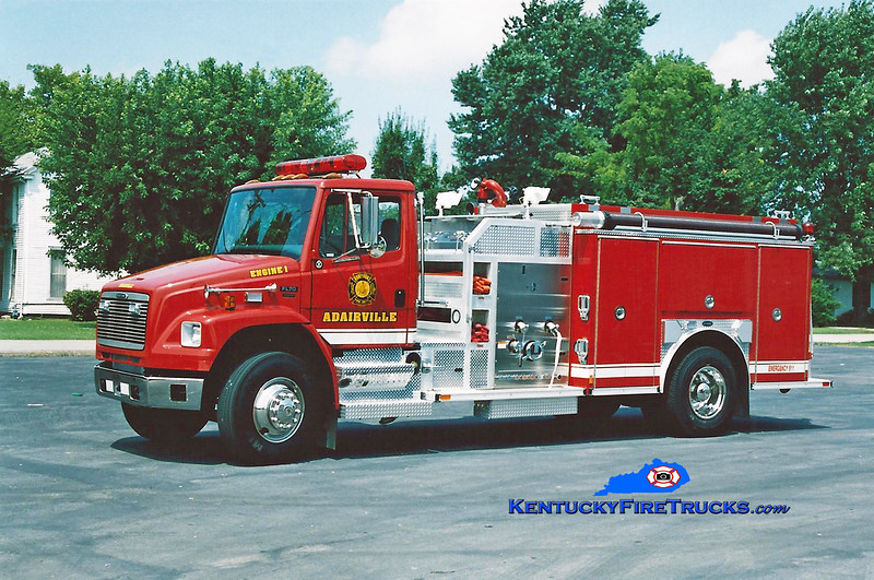 <center> Adairville Engine 21 <br> 2002 Freightliner FL70/E-One 1250/1000 <br> Kent Parrish photo </center>