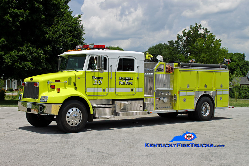 <center> Adairville Rural  Engine 20 <br> 2001 Peterbilt 330/E-One 1250/1000 <br> Kent Parrish photo </center>
