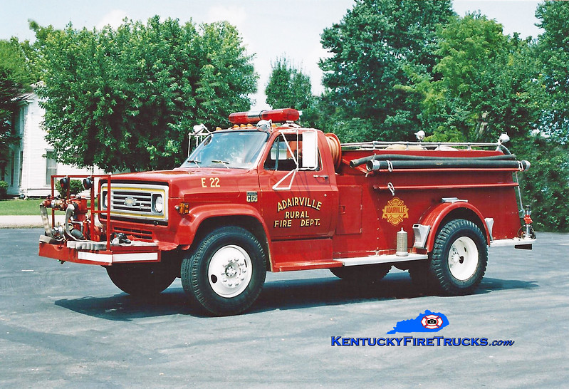 <center> RETIRED <br> Adairville Rural  Engine 22 <br> 1974 Chevy/Howe 250/850 <br> Kent Parrish photo </center>