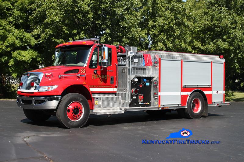 <center> Auburn Rural Engine 33 <br> 2012 International 4400/Rosenbauer 1250/1000/30 <br> Kent Parrish photo </center>