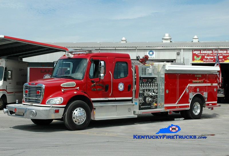 <center> Logan Aluminum  Engine 55 <br> 2007 Freightliner M2-106/Rosenbauer-Central 1750/500/50 <br> Greg Stapleton photo </center>