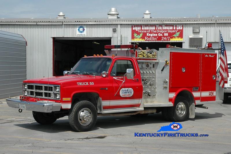 <center> Logan Aluminum  Truck 50 <br> x-Alcan Aluminum <br> 1983 GMC 4x4/Saulsbury 500/200 <br> Greg Stapleton photo </center>