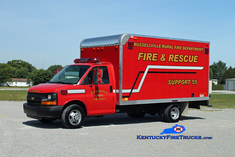 <center> Russellville Rural  Support 55 <br> 2004 Ford F-350/Bay Bridge <br> Kent Parrish photo </center>