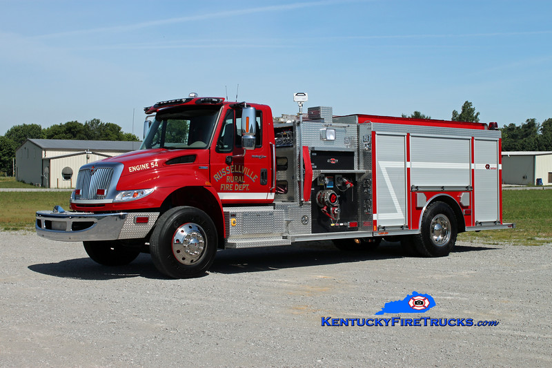 <center> Russellville Rural  Engine 54 <br> 2008 International 4400/Rosenbauer-Central 1250/1000 <br> Kent Parrish photo </center>