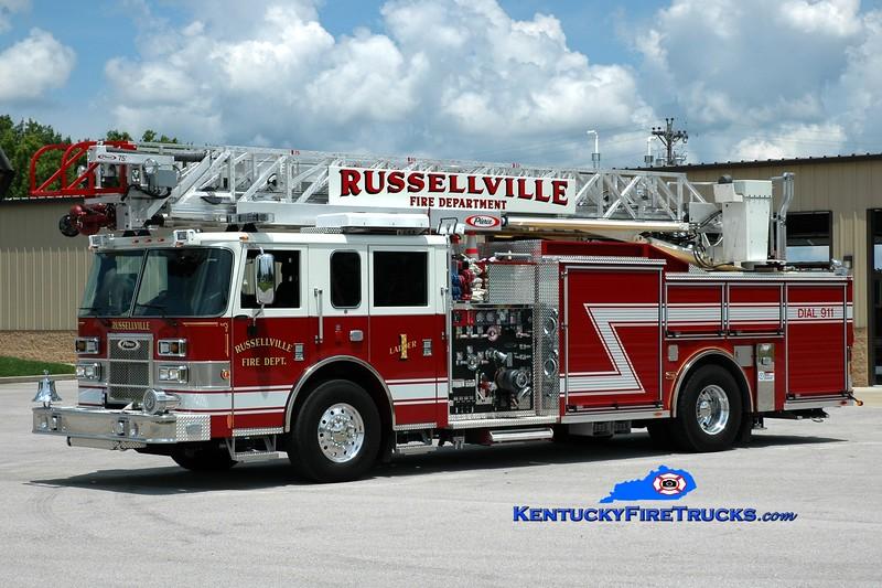 <center> Russellville  Ladder 1 <br> 2012 Pierce Saber 1500/500/75'  <br> Greg Stapleton photo </center>