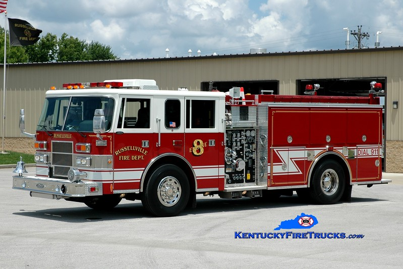 <center> Russellville  Engine 8 <br> 1999 Pierce Saber 1250/1000 <br> Greg Stapleton photo </center>
