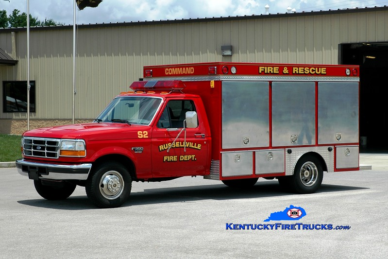 <center> Russellville  Squad 2 <br> 1995 Ford F-350/H & H  <br> Greg Stapleton photo </center>