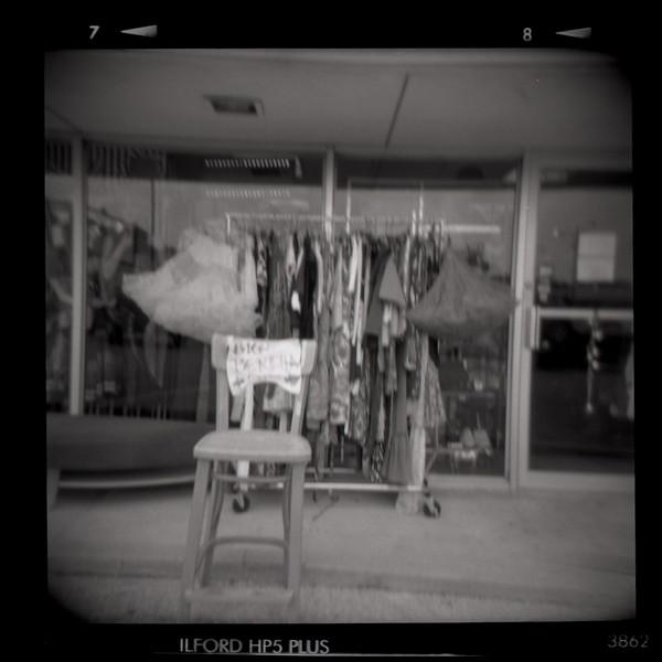Vintage Clothes Store<br /> -Holga camera, 120 B&W film