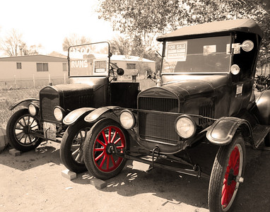 Set of Model T's off of Highway 395 in Lone Pines, California.