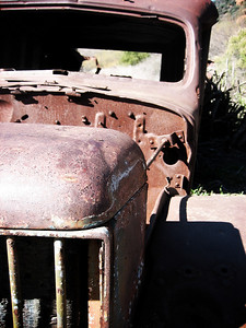 Burnt out Ambulance used in the filming of the MASH television shows that ran from 1973 to 1983.  This was taken during a hike to the old MASH set in Malibu Creek State Park in Malibu, California.