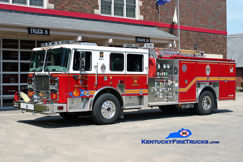 <center> Louisville  Engine 10 <br> 2006 Seagrave Marauder 1500/500/25 <br> Kent Parrish photo <br> </center>
