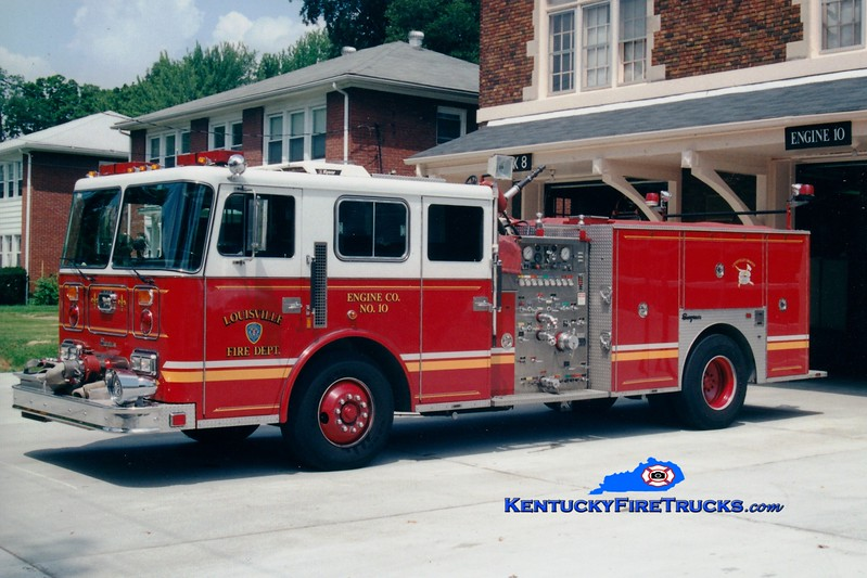 <center> Auxiliary Engine 110 <br> Louisville  Engine 10 <br> 1989 Seagrave JB 1000/500 <br> Greg Stapleton photo <br> </center>