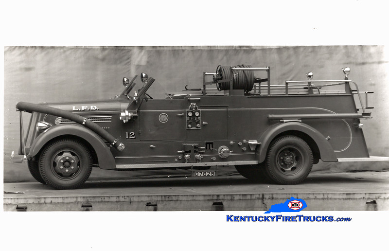 <center> RETIRED <br> Louisville  Engine 12 <br> 1948 Seagrave 750/150 <br> Kent Parrish collection <br> </center>