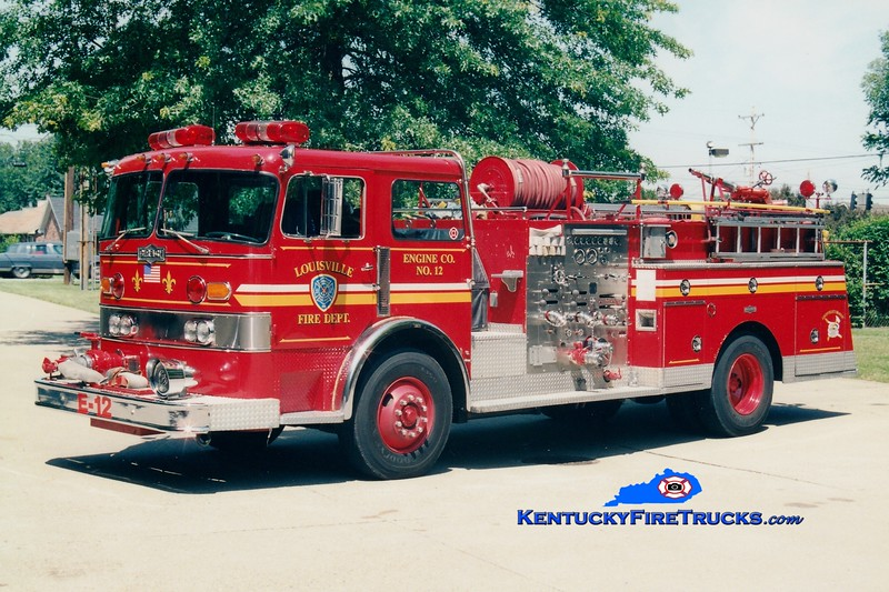 <center> RETIRED <br> Louisville  Engine 12 <br> x-Engine 9 and 4 <br>  1979 Pirsch 1500/300 <br> Greg Stapleton photo <br> </center>