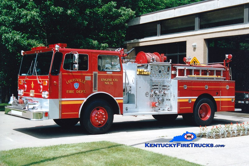 <center> RETIRED <br> Louisville  Engine 12 <br> *Also served as Engine 6 <br> 1970 Ward LaFrance chassis/1986 LFD rebuild with Duplex cab and Summit body 1000/300 <br> *Chassis was x-Engine 22 <br> Greg Stapleton photo <br> </center>