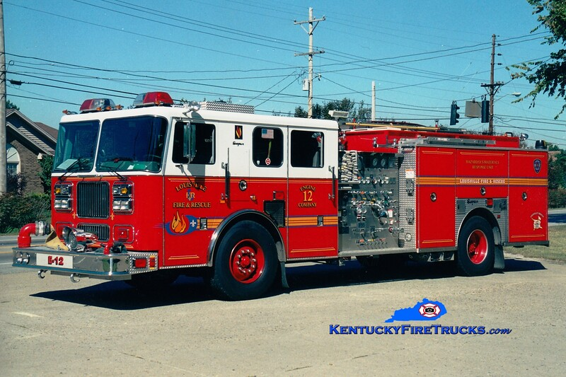 <center> Reassigned to Engine 19 <br> Louisville  Engine 12 <br> 2002 Seagrave Marauder 2000/500/25/200/Hazmat <br> Greg Stapleton photo <br> </center>