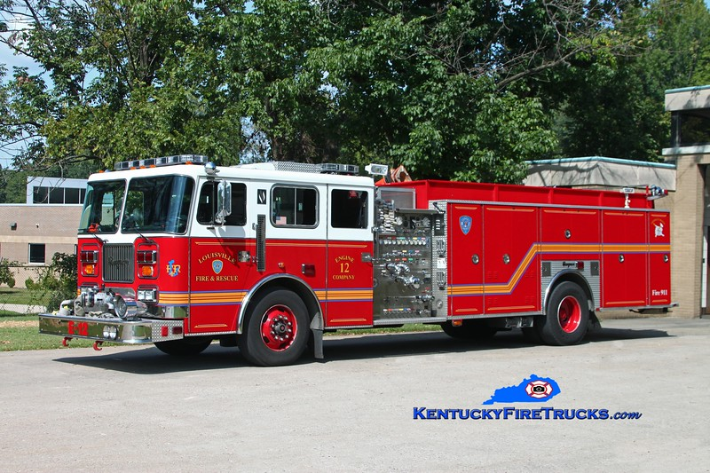 Auxiliary Quad 104 <br /> Louisville Engine 12<br /> x-Quad 6, Engine 4, and Engine 8<br /> 1998 Seagrave 1500/500/Quad<br /> Kent Parrish photo
